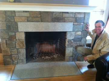 marty hardiman with stone fireplace