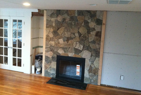 Stone Veneer Fireplace Family Room